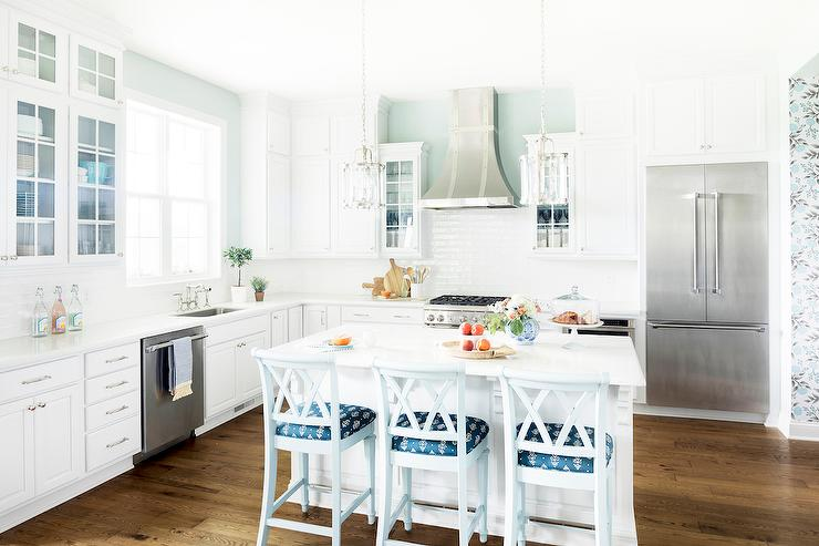 White Kitchen With Blue Accents Transitional