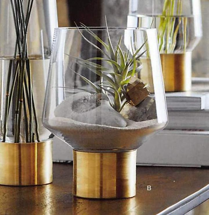 Roost Tapered Glass Brass Cuff Vases