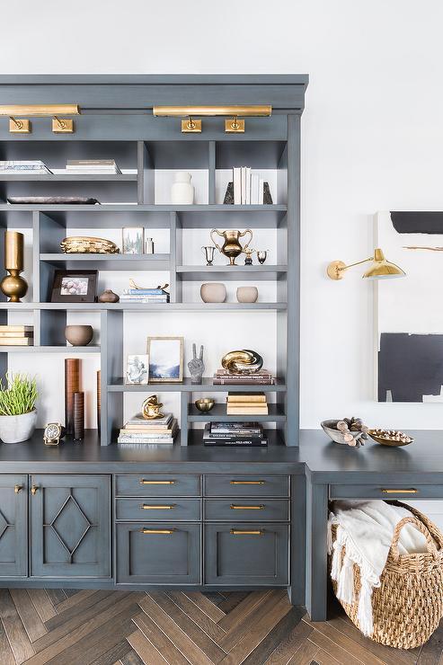 Alyssa Rosenheck: Antique Blue Cabinets with Brass Pulls - Alyssa Rosenheck: Antique Blue Cabinets With Brass Pulls