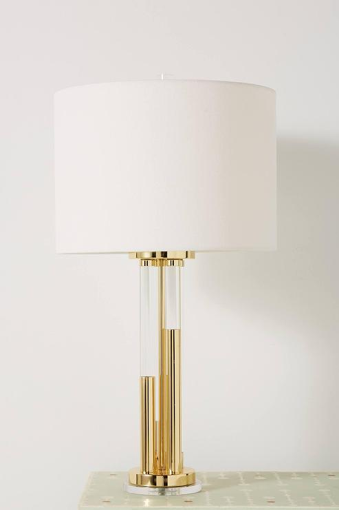 Antique Brass Lucite Rods Table Lamp