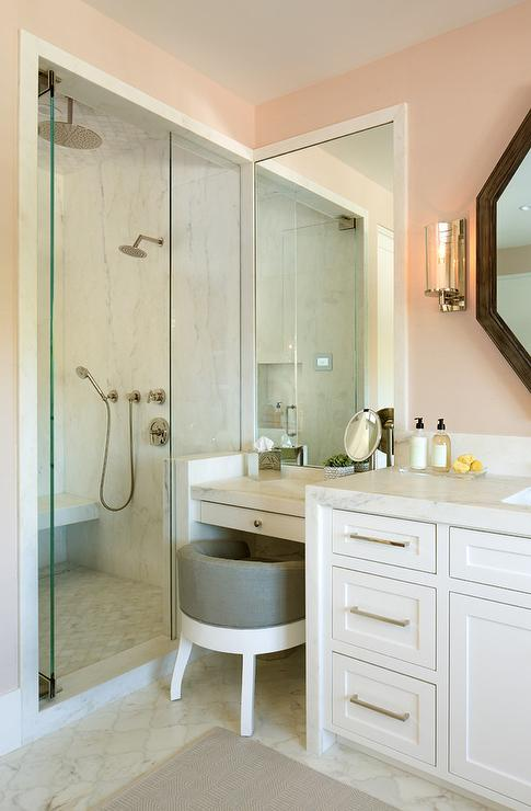 White And Pink Bathroom With Gray Vanity Stool