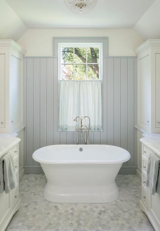 Attic Master Bathroom With Gray Shiplap Cottage Bathroom