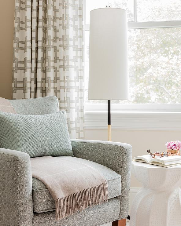 Ivory and Green Accent Chair with Beige Throw - Transitional ...