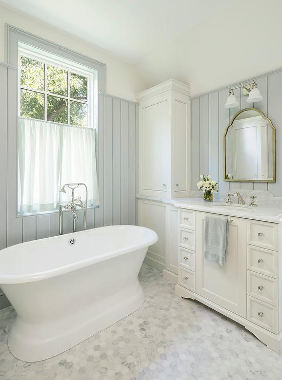 Alyssa Rosenheck All White Master Bathroom With Sheer