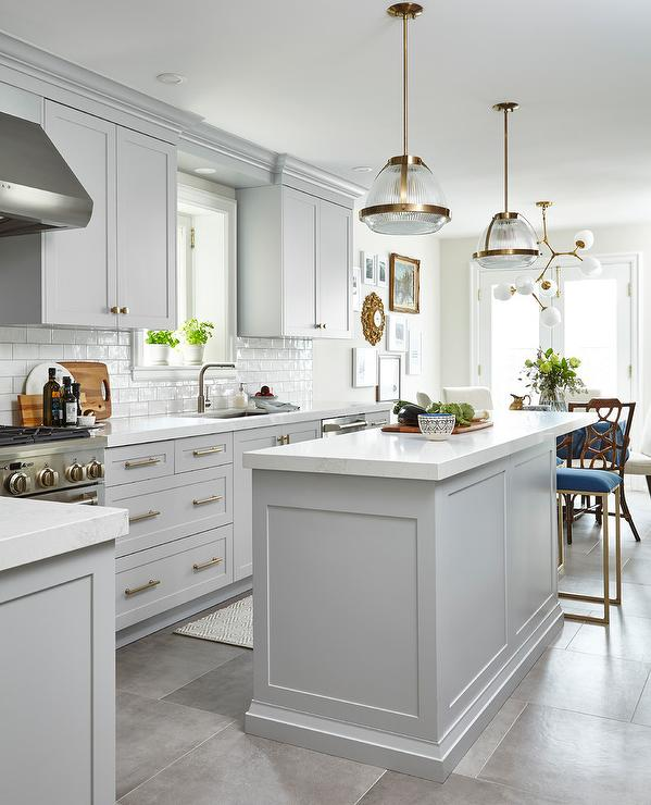 Kitchen Floor Tiles For White Cabinets: Light Gray Cabinets With White Glazed Subway Tiles