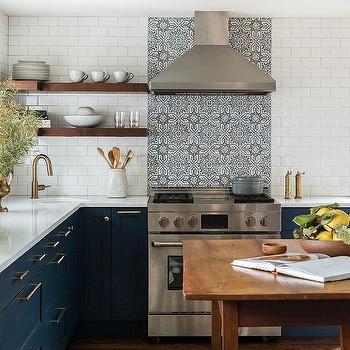White And Blue Mosaic Hand Painted Kitchen Backsplash Tiles Design Ideas