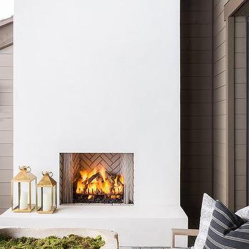 Alyssa Rosenheck Gold Lanterns On White Fireplace Hearth