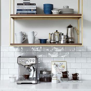 Wood And Brass French Wall Shelving Coffee Station