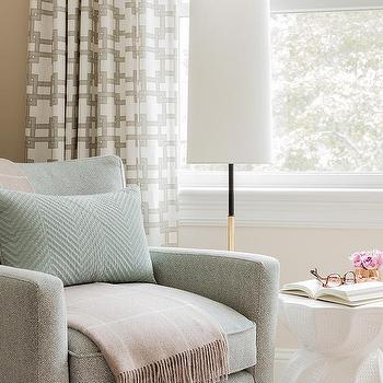 living room seating. Ivory and Green Accent Chair with Beige Throw Living Room Seating In Front Of Window Design Ideas