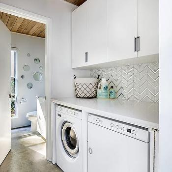 White And Silver Herringbone Laundry Room Backsplash Tiles Design Ideas