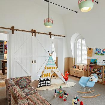 Playroom Copper Barn Door Rails Design Ideas