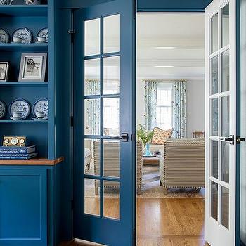 Blue Home Office Cabinets Design Ideas