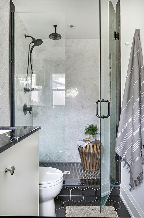 Black Hex Shower Floor Tiles With Gray Marble Herringbone