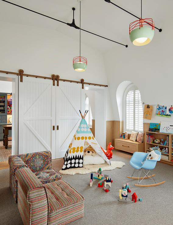 Attic Playroom With Long Built In Window Seat