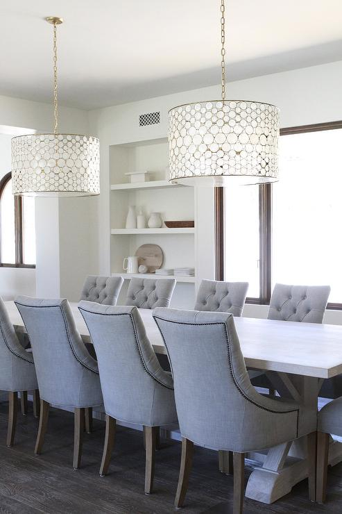 Light wood trestle dining table with gray tufted chairs light wood trestle dining table with gray tufted chairs mozeypictures Images