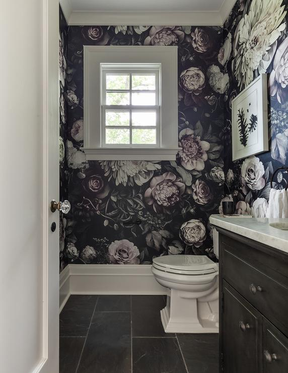 Taupe And Black Powder Rooms Transitional Bathroom