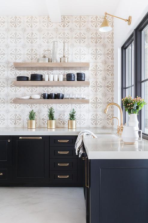 Alyssa Rosenheck Light Gray Mosaic Tiles with Black Cabinets & Alyssa Rosenheck: Light Gray Mosaic Tiles with Black Cabinets ...