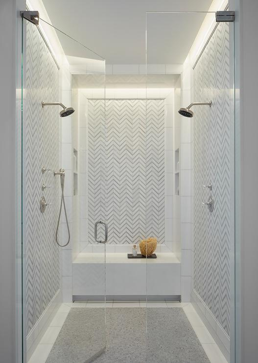 White Shower Tiles With Gray Shower Floor Transitional