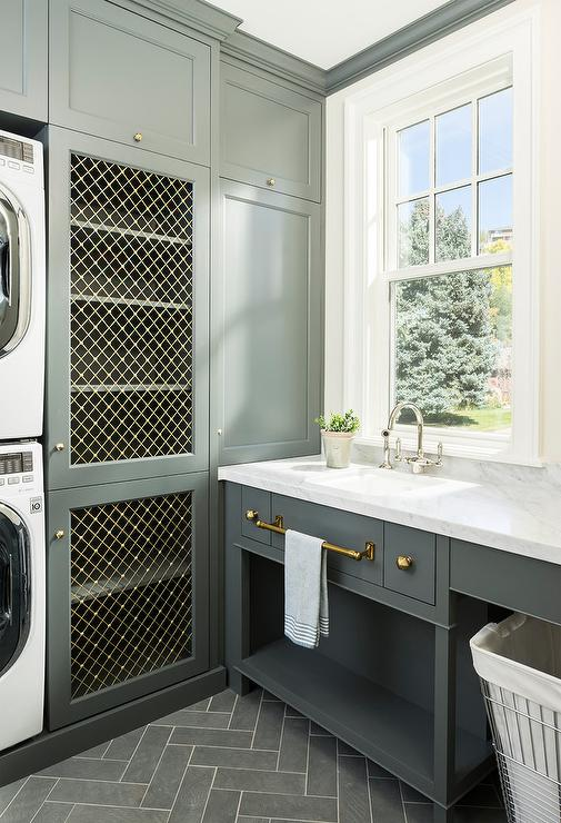 Gray Slate Herringbone Tiles With Apron Laundry Room Sink