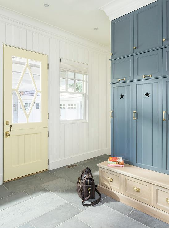 Butter Yellow Back Door with Glass Panes - Transitional - Laundry Room