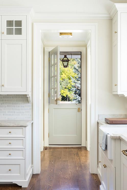 Light Gray Dutch Door With Glass Panes