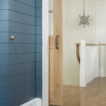 Moravian Star Pendant Over Shiplap Staircase & Mudroom Jib Closet Door Design Ideas