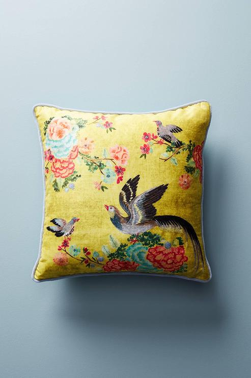 270e1a346809f6 Yellow Embellished Birds Floral Pillow