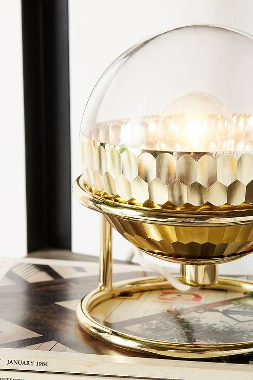 Equator Textured Gold Glass Table Lamp