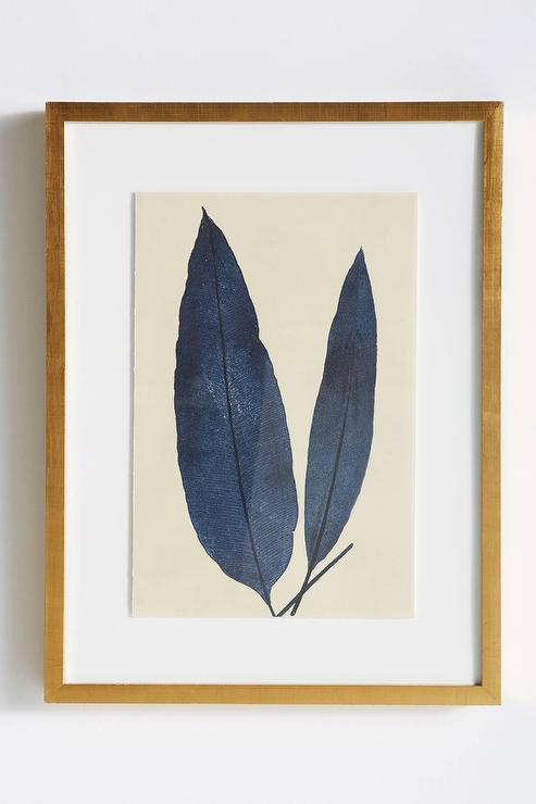 Wall Art And Decor For Living Room: Teal And Gold Leaves Wall Art