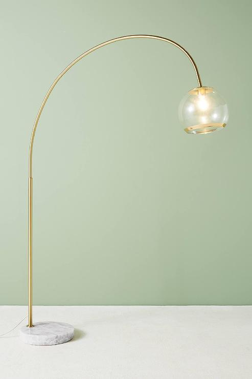 Arched Glass Brass Floor Lamp