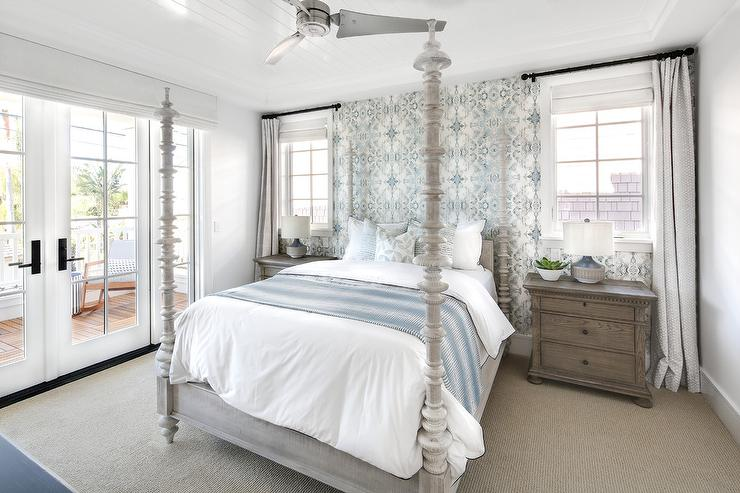 ligh blue piant colors traditional bedroom benjamin 15816 | bedroom blue accent wall with lindsay cowles wallpaper
