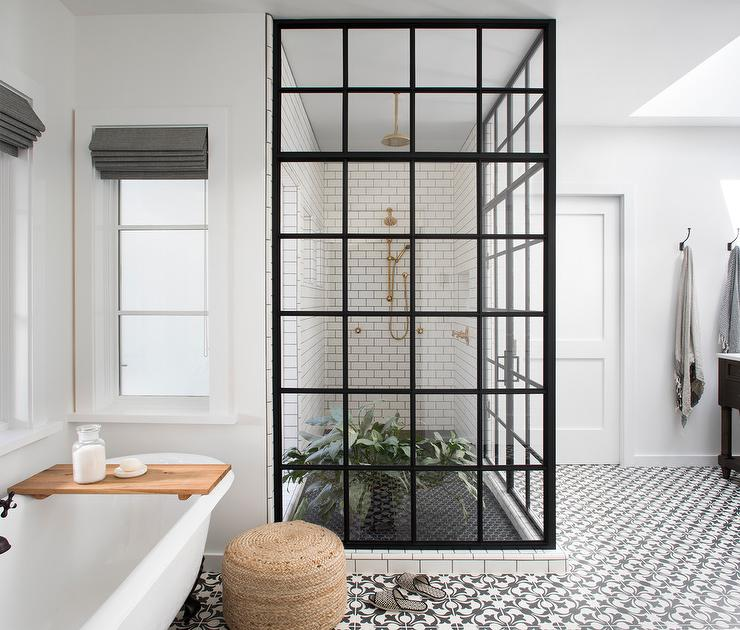 Concrete Bathroom Floor: White And Black Shower With Black Hex Tile Shower Floor