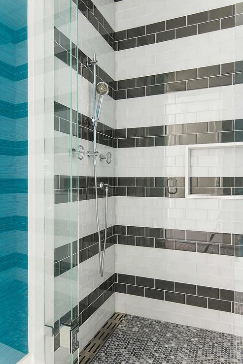 Black Hex Tile Shower Niche Design Ideas