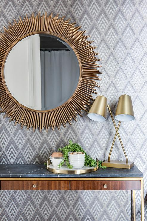 Gold Sunburst Mirror With Wood And Brass Console Table