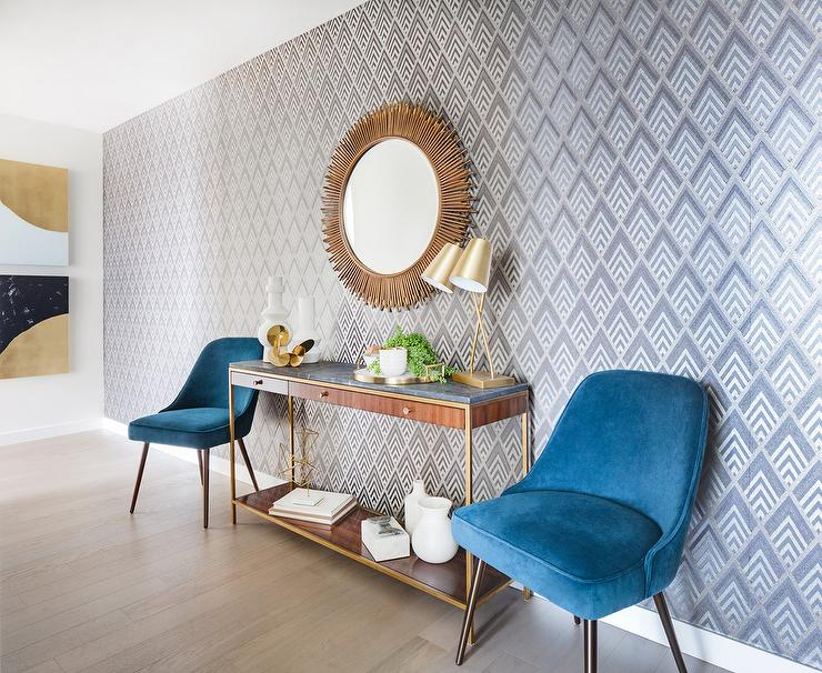 Foyer Console Furniture : Blue velvet chairs with brass and wood console table