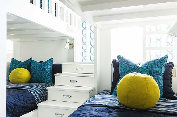 Light Blue Built Bunk Beds Navy Shiplap Trim