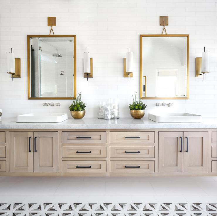 White And Gray Geometric Bath Accent Floor Tiles Transitional