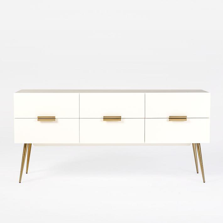 Hayworth White Gold Four Drawer Dresser