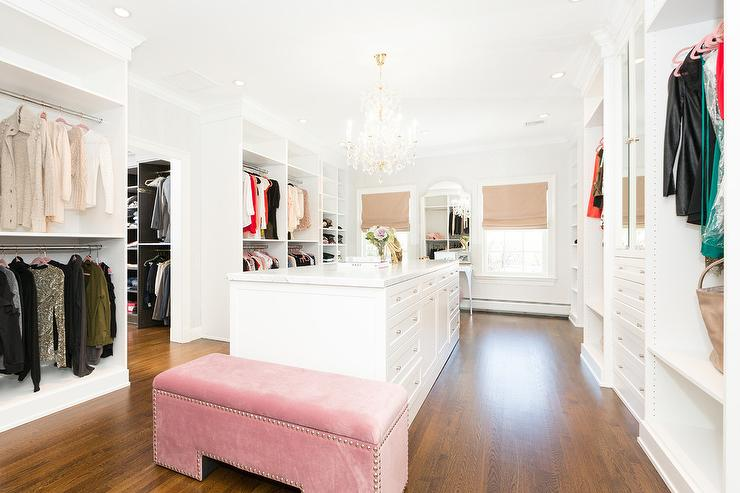 Pink Velvet Bench With White Closet Island