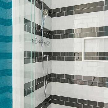 Black And White Striped Subway Shower Wall Tiles Design Ideas
