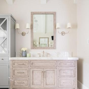 Brushed Oak Washstand With Vendome Double Sconce