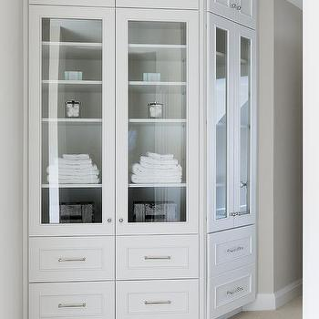 Glass Front Linen Cabinets On Curved Wall