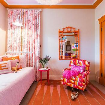 Orange and Pink Accent Chair with Pink Pillow - Contemporary ...