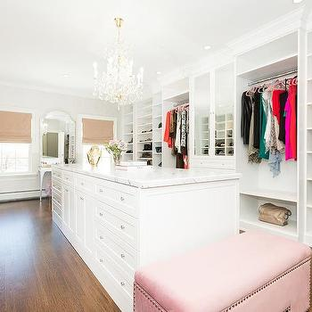 Mirror Top Closet Island With Built In Bench
