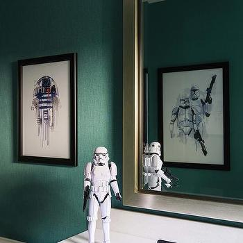 Teal Kids Bathroom Walls with Star Wars Theme