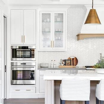 Iridescent Chevron Kitchen Wall Tiles Design Ideas