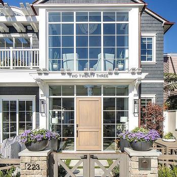 Black Front Door Transitional Home Exterior
