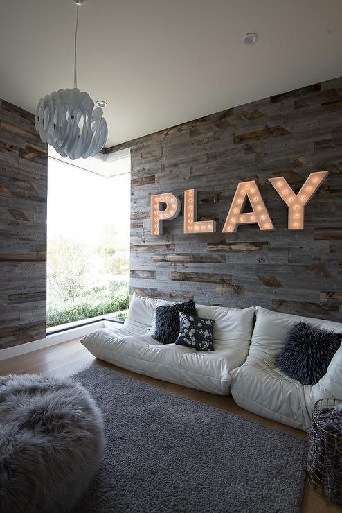 Surprising Gray Plank Playroom Wall With Play Marquee Lights Andrewgaddart Wooden Chair Designs For Living Room Andrewgaddartcom