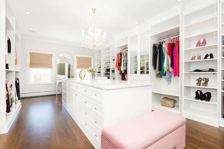 Long Walk In Closet with Pink Curtains - Contemporary - Closet