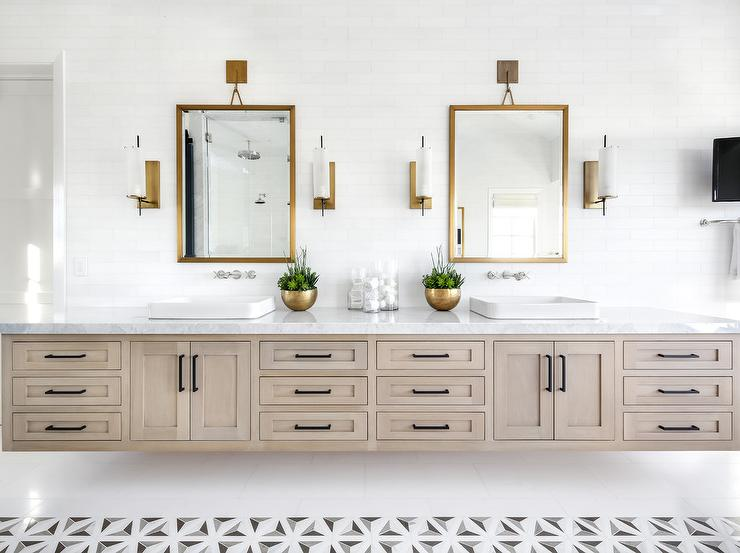 Gray Wash Wood Floating Dual Washstand With Gold Mirrors Transitional Bathroom